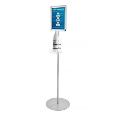 Immagine di Colonnina Porta dispenser - con ripiano in plexiglass e cornice, h 140cm