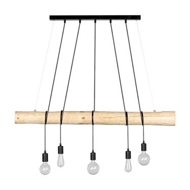 Picture of TRABO LONG - LAMPADINA - 5XE27 -   	Narural Wood/Black