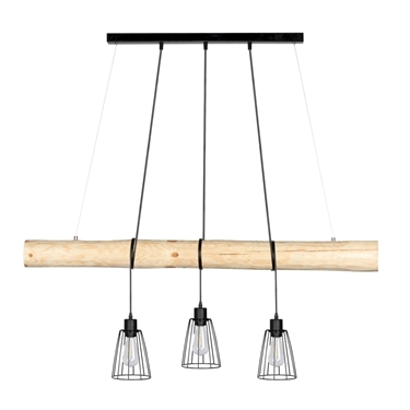 Immagine di TRABO LONG - CON PARALUME - 3XE27 -   	Narural Wood/Black