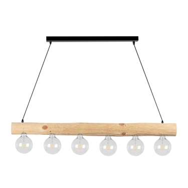 Immagine di TRABO SIMPLE - SOSPENSIONE - 6XE27 -   Black/natural wood