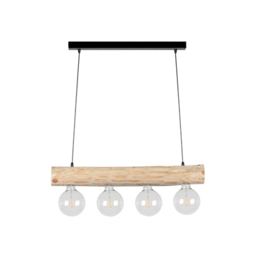 Immagine di TRABO SIMPLE - SOSPENSIONE - 4XE27 -   Black/natural wood