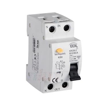 Immagine di Interruttore magnetotermicodifferenziale  KRO6-2 - Tipo di protezione differenziale A - PROPRIETA' DI RILASCIO : B